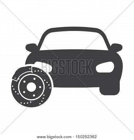 car brake discs black simple icon on white background for web design