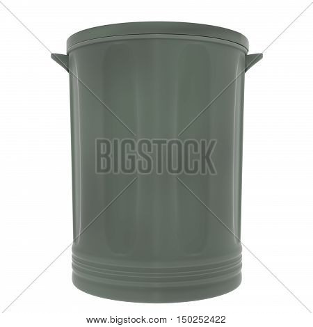 A 3D rendering of a green plastic garbage can with the lid on.