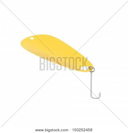 A 3D rendering of a gold spoon fishing lure.