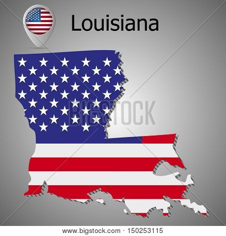Louisiana map flag and text vector illustration.