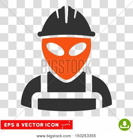 Vector Alien Worker EPS vector pictogram. Illustration style is flat iconic bicolor orange and gray symbol on a transparent background.