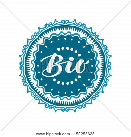 Stamp with text Bio written inside. Lettering vector illustration isolated on white background
