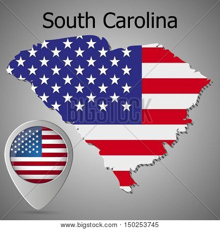 South Carolina State map with US flag inside and Map pointer with American flag. United States of America flag pin map icon eps 10.