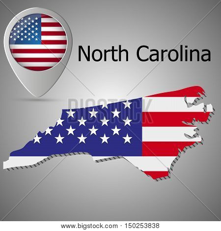 North Carolina State map with US flag inside and Map pointer with American flag. United States of America flag pin map icon eps 10.