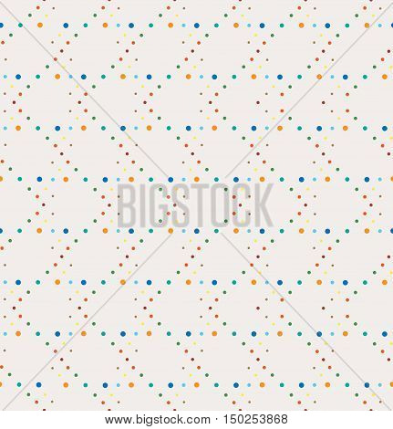 Abstract geometric polka dot seamless vector pattern. Vintage retro colors dots texture on white background.