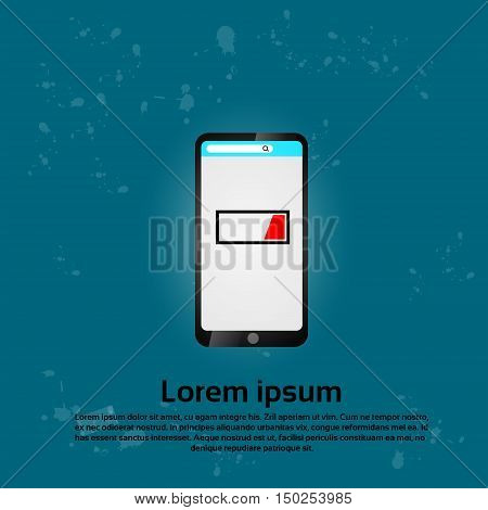 Cell Smart Phone Low Battery Charge Flat Vector Illustration