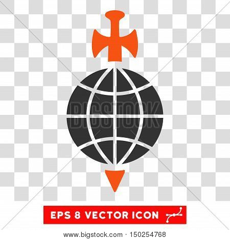 Vector Global Guard EPS vector pictogram. Illustration style is flat iconic bicolor orange and gray symbol on a transparent background.