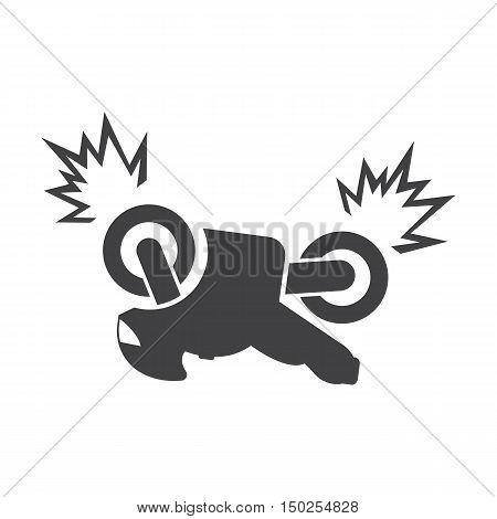 motorcycle crash black simple icons set for web design