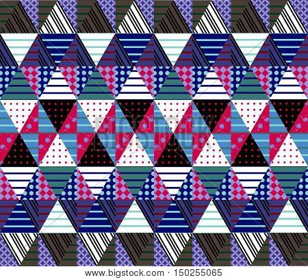 Ornamental seamless patchwork pattern. Ethnic background. Vector illustration of quilt. Can be used for wallpapers textiles fabrics textures wrapping paper.