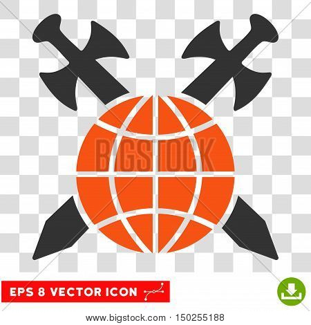 Vector Global Protection Swords EPS vector pictograph. Illustration style is flat iconic bicolor orange and gray symbol on a transparent background.