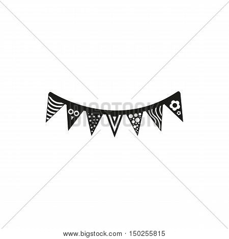 simple black icon of flags or pennants isolated on white background. Elements for company print products page and web decor. Vector illustration.