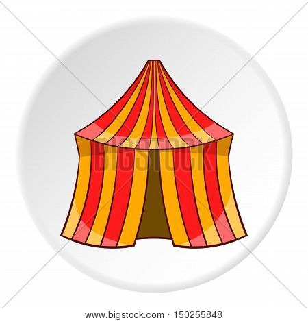 Circus tent icon in cartoon style isolated on white circle background. Entertainment symbol vector illustration