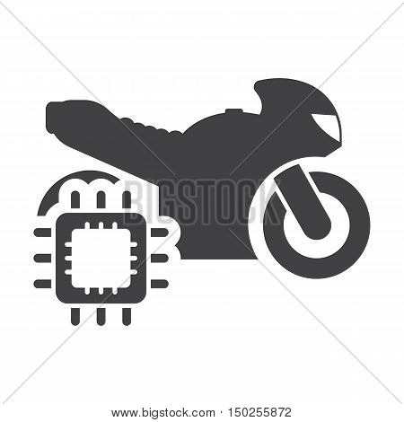 Motorcycle cpu black simple icons set for web design