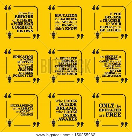 Set Of Motivational Quotes About Intelligence, Learning, Education, Errors, Teacher, Respect, Genius