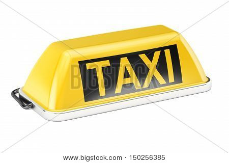 Yellow taxi car signboard 3D rendering isolated on white background