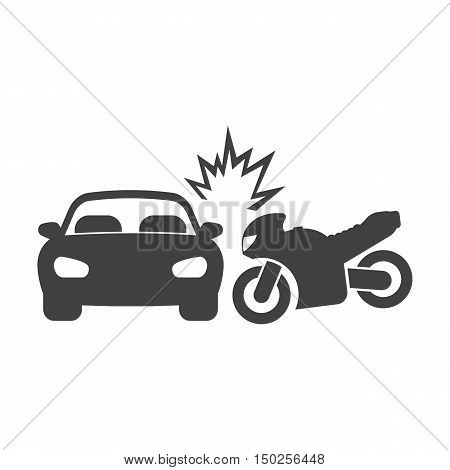 car crash motorcycle black simple icons set for web design