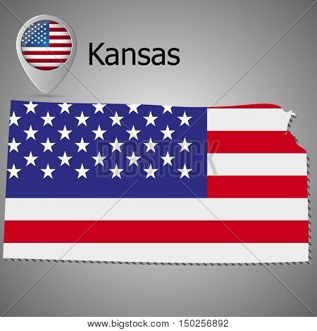 Kansas State map with US flag inside and Map pointer with American flag