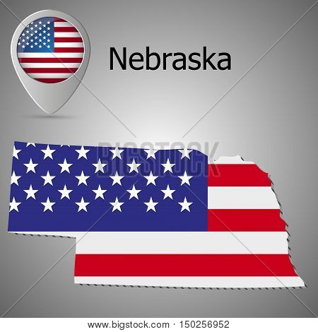 Nebraska State map with US flag inside and Map pointer with American flag
