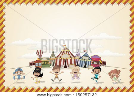 Card with a group of happy cartoon children playing in front of a retro circus. Vintage carnival background.