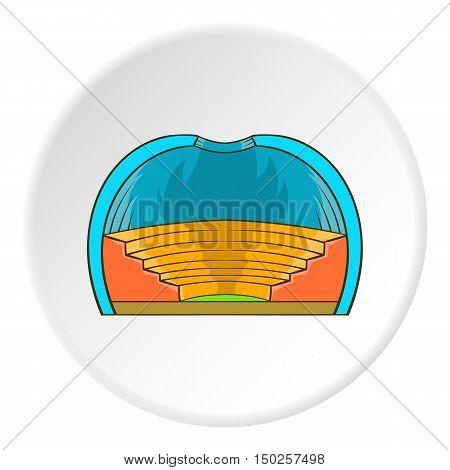 Indoor stadium icon in cartoon style isolated on white circle background. Sports facility symbol vector illustration