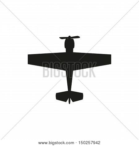 simple black propeller plane icon isolated on white background. Elements for company print products page and web decor. Vector illustration.