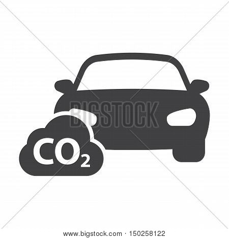 car co2 black simple icons set for web design