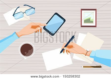 Contract Sign Up Paper Document Business People Agreement Pen. Flat Vector Illustration