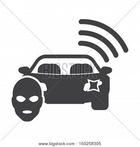 car signaling black simple icons set for web design