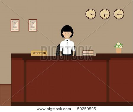 Young woman receptionist stands at reception desk. Hotel reception. Travel, hospitality, hotel booking concept. Vector flat illustration