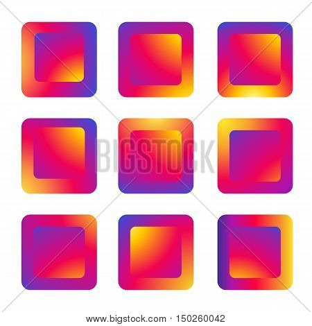 Colorful buttons, backgrounds for icon, sticker, button, background, pattern, web, media, tag, label, symbol, gift, sale, site, flayer concept design. Digital vector illustration in Instagram New logo 2016 color. Background. For Art, web, print, media des