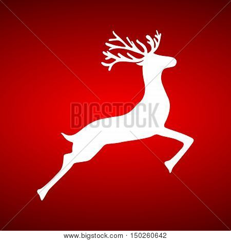 Reindeer on red background holiday vector illustration