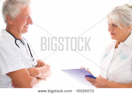 Smiling Doctors On A White