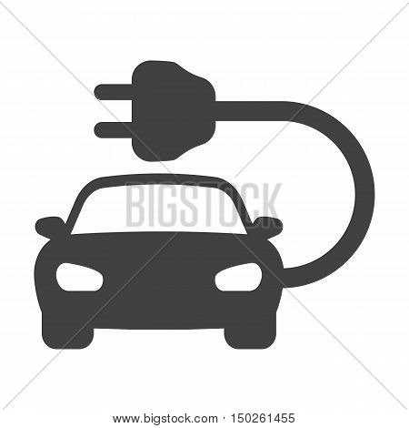 electric car black simple icons set for web design
