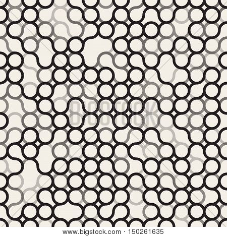 Vector Seamless Black and White Circles Irregular Grid Pattern. Abstract Geometric Background Design