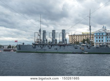 Saint Petersburg Russia September 10 2016: Cruiser Aurora on eternal parking.  in St. Petersburg Russia.