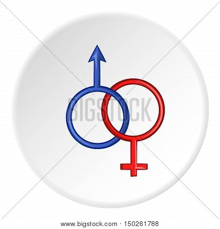 Sign man and woman icon in cartoon style isolated on white circle background. Gender symbol vector illustration