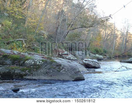 Fast moving water flowing down a creek with large boulders on either bank.