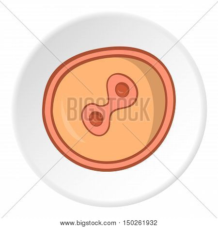 Fertilized egg icon in cartoon style isolated on white circle background. Pregnancy symbol vector illustration