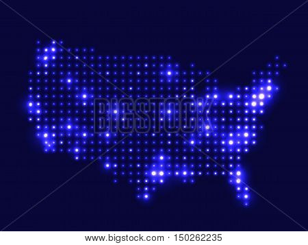 Dotted night map United States of America