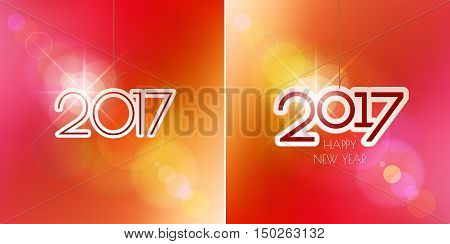 Happy New Year design elements. Merry Christmas decoration and card design. 2017 digits on red blurred mesh background with defocused light spots. Holiday vector abstract artwork set.