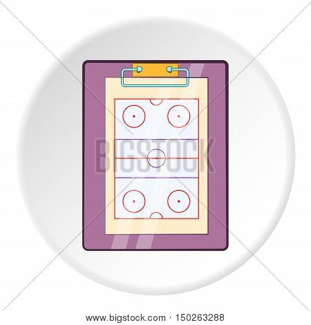 Hockey game plan icon in cartoon style isolated on white circle background. Sport symbol vector illustration