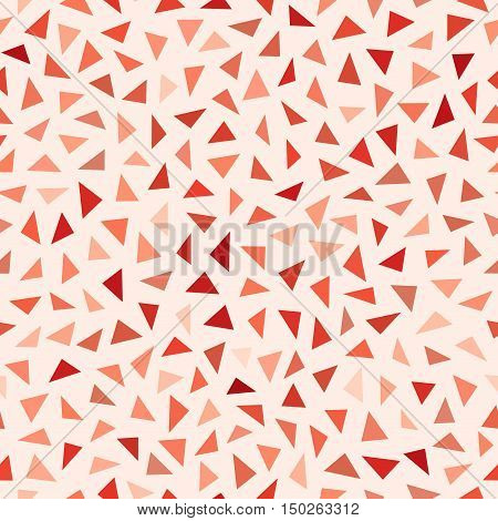 Vector Seamless Red Shades Jumble Triangles Pattern. Abstract Geometric Background Design