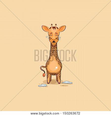Vector Stock Illustration isolated Emoji character cartoon Giraffe crying, lot of tears