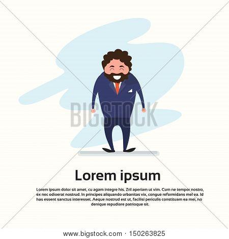 Cartoon Bearded Business Man Happy Smile Full Length Flat Vector Illustration