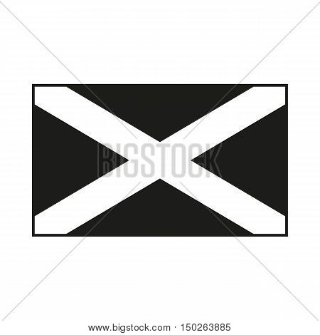 Flag of Scotland. Saint Andrew's Cross. Icon Created For Mobile Web Decor Print Products Applications. Black icon isolated on white background. Vector illustration.