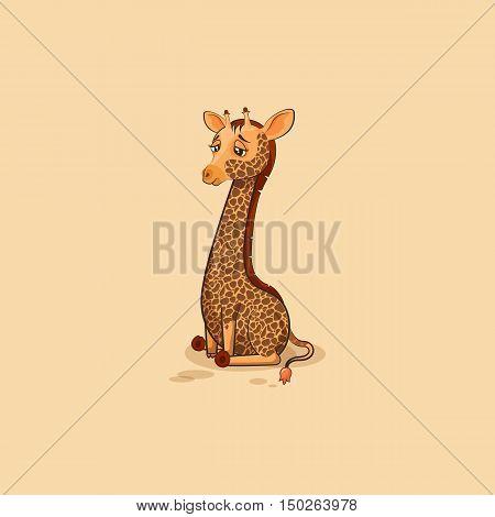 Vector Stock Illustration isolated Emoji character cartoon Giraffe sad and frustrated