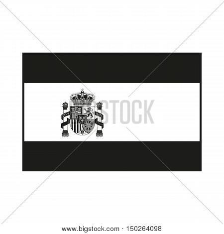 Flag of Spain with Emblem Icon Created For Mobile Web Decor Print Products Applications. Black icon isolated on white background. Vector illustration.