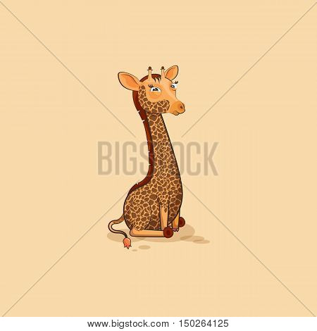 Vector Stock Illustration isolated Emoji character cartoon Giraffe squints and looks suspiciously