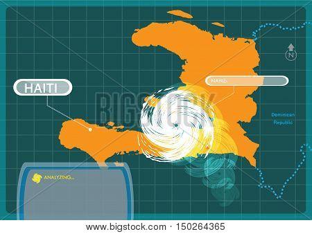 Haiti with a Typhoon making a landfall at capital Port-au-prince . Editable Clip Art.