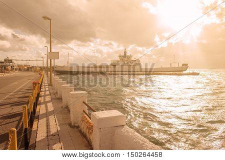 Ferry Boat In Villa San Giovanni Sicily Italy